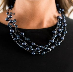 Dainty Blue Pearl & Wire Layer Necklace & Earrings